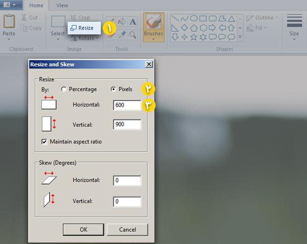 تغیر اندازه تصویر با Paint ویندوز