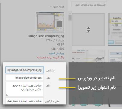 وارد کردن نام تصویر در وردپرس
